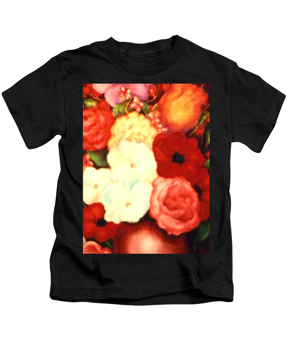 Flowers Kids T-Shirt featuring the painting Jewel Flowers by Jordana Sands