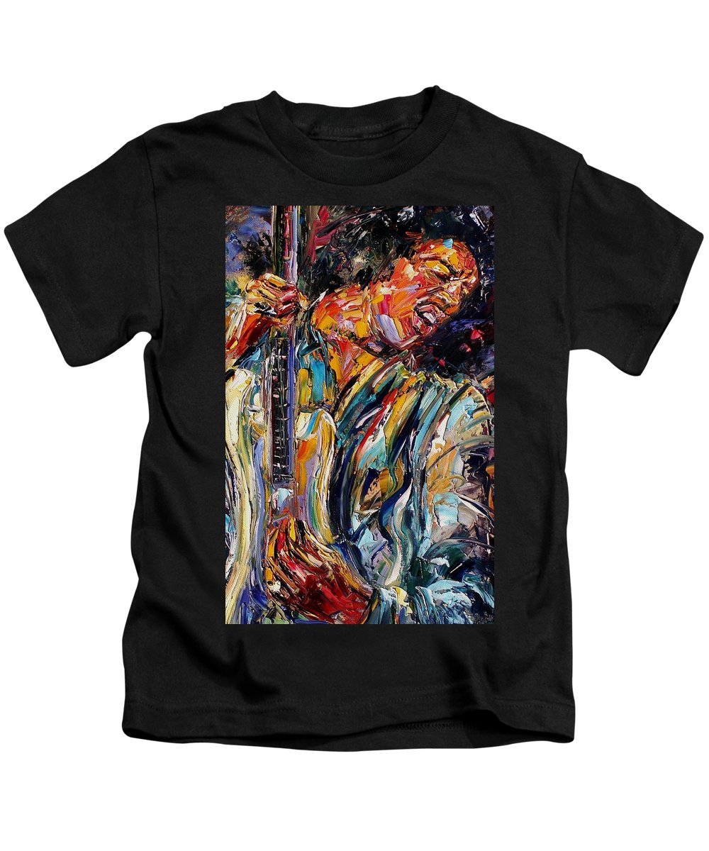 Jimi Hendrix Painting Kids T-Shirt featuring the painting Jimi Hendrix by Debra Hurd