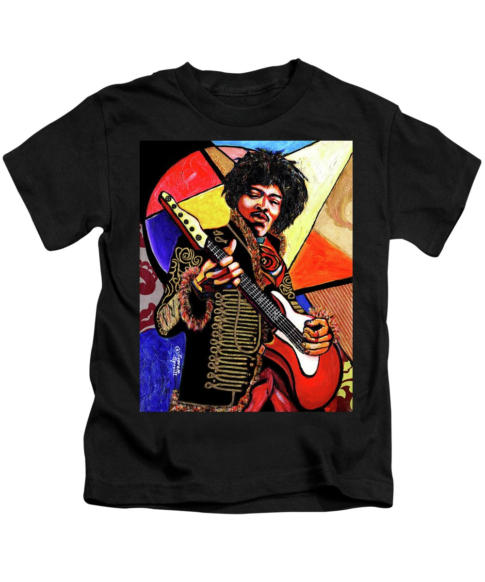 Everett Spruill Kids T-Shirt featuring the mixed media Jimi Hendrix by Everett Spruill