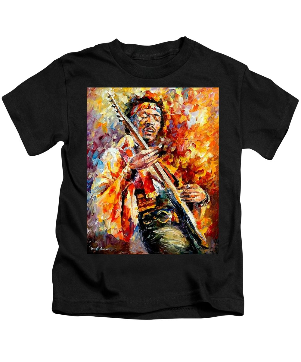Music Kids T-Shirt featuring the painting Jimi Hendrix by Leonid Afremov