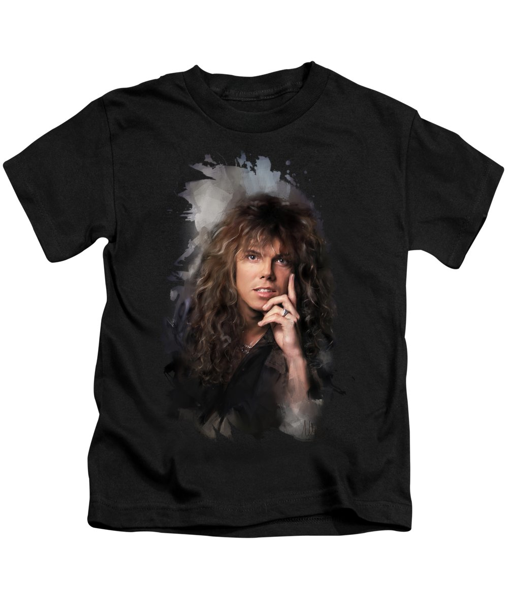 Joey Tempest Kids T-Shirt featuring the painting Joey Tempest by Melanie D