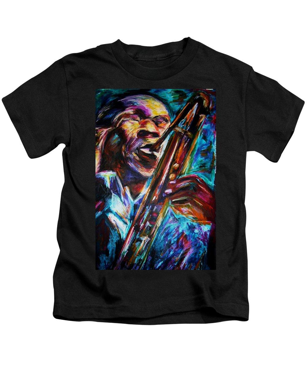 Jazz Kids T-Shirt featuring the painting John Coltrane by Frances Marino