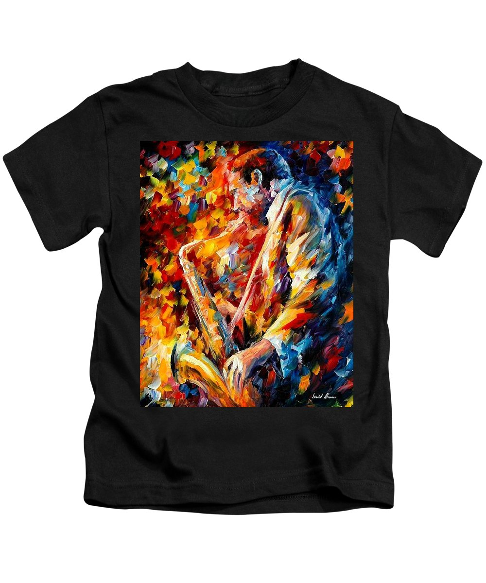 Music Kids T-Shirt featuring the painting John Coltrane by Leonid Afremov