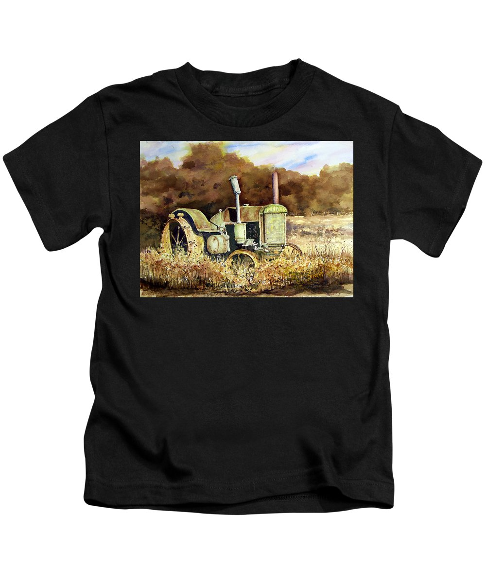 Tractor Kids T-Shirt featuring the painting Johnny Popper by Sam Sidders