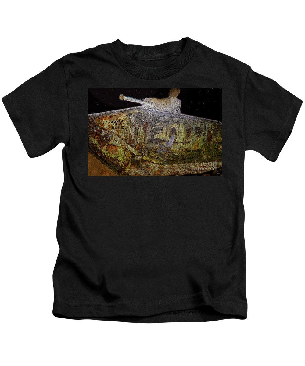 Art Kids T-Shirt featuring the painting Jones Was Here by David Lee Thompson