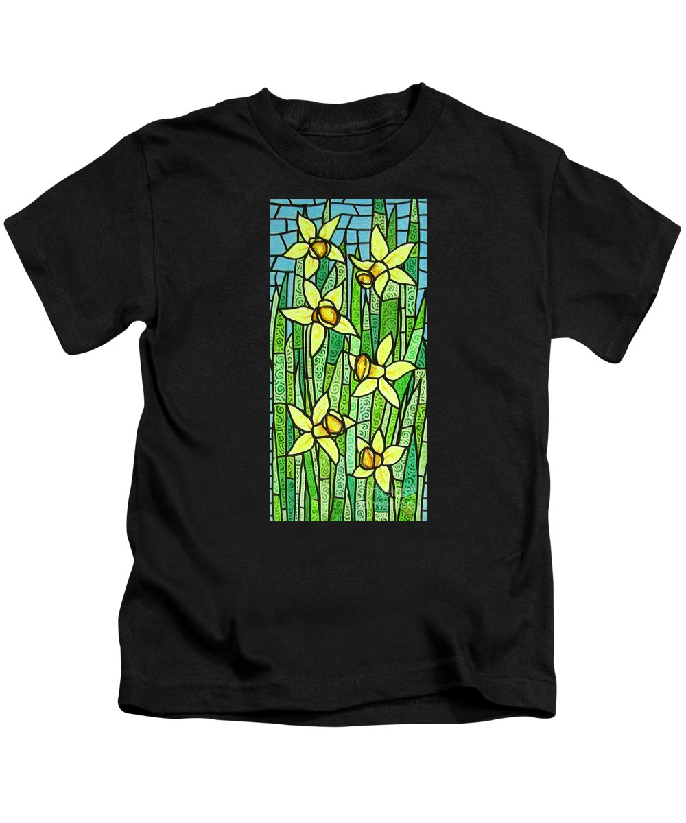 Jonquils Kids T-Shirt featuring the painting Jonquil Glory by Jim Harris