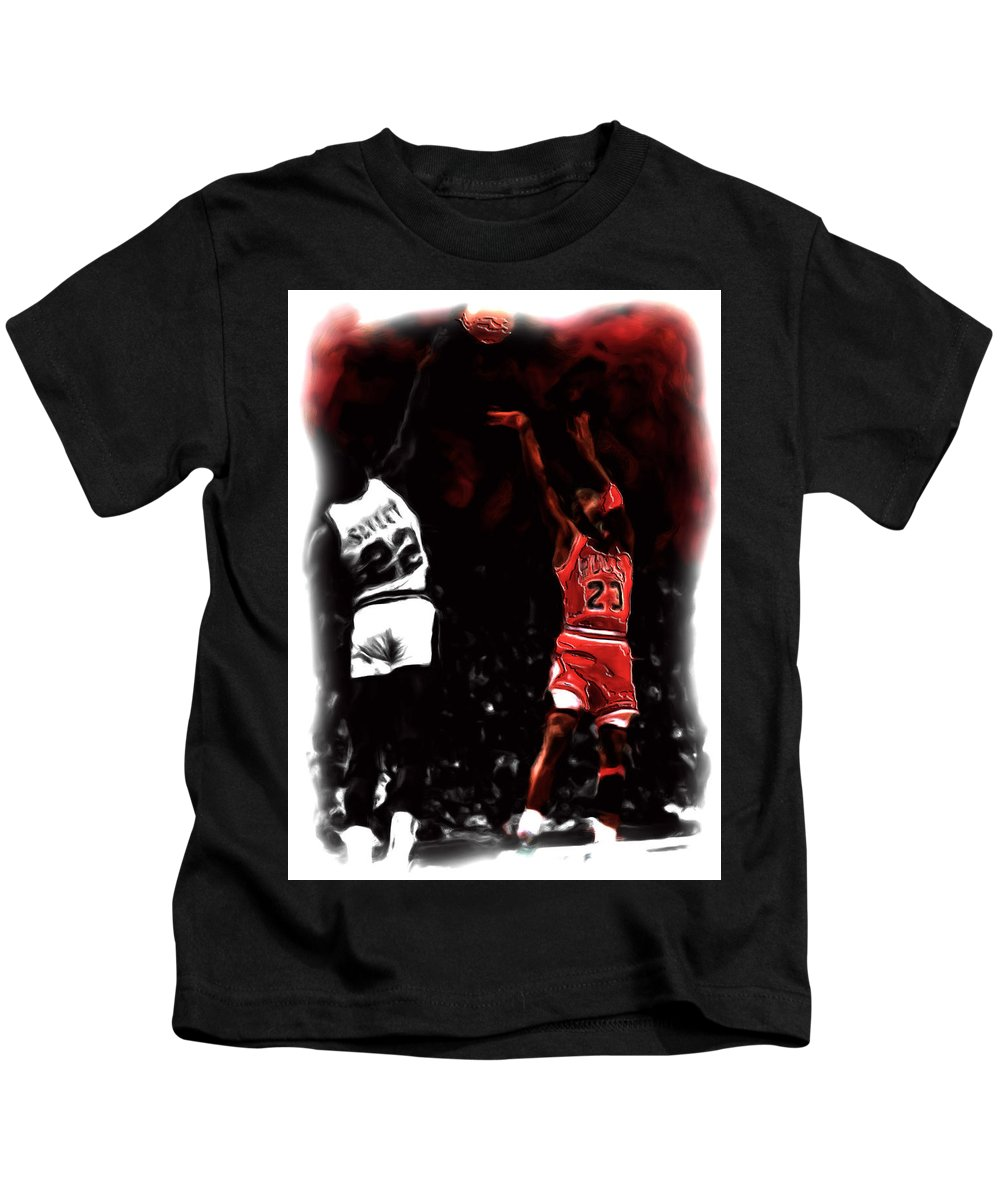 Michael Jordan Kids T-Shirt featuring the painting Jordan Over Salley by Brian Reaves