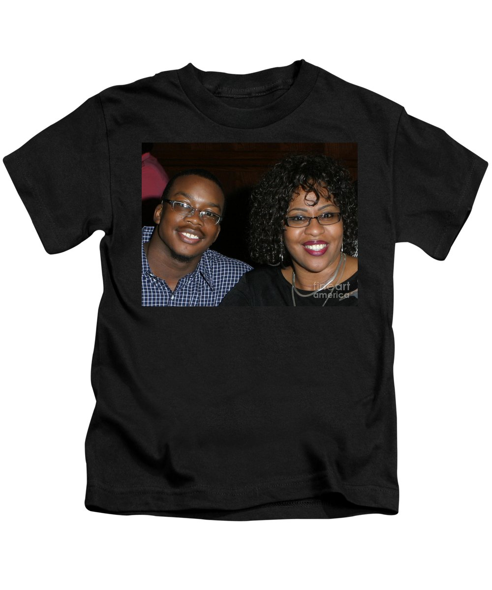 Kids T-Shirt featuring the mixed media Josh And His Mom by Angela L Walker