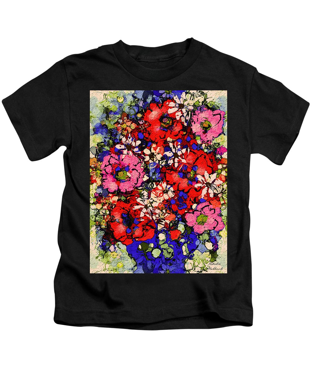 Floral Abstract Kids T-Shirt featuring the painting Joyful Flowers by Natalie Holland