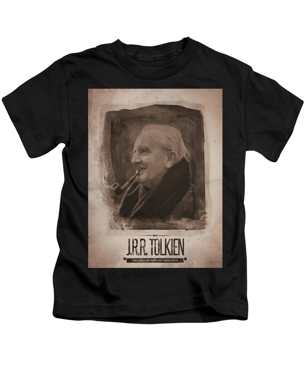 J.r.r. Tolkien Kids T-Shirt featuring the digital art J.r.r. Tolkien by Afterdarkness