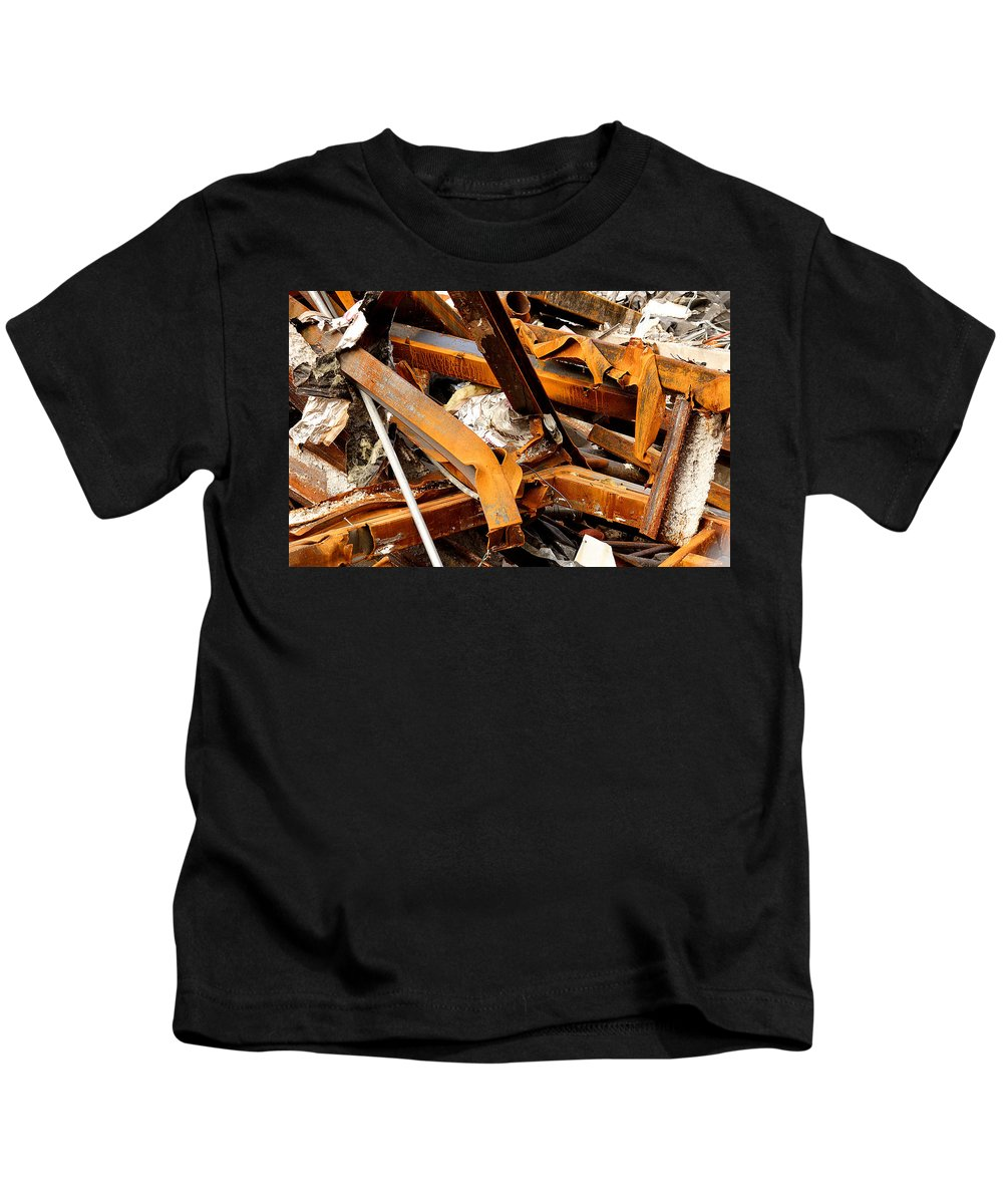 Steel Kids T-Shirt featuring the photograph Jumbled Steel by Jean Macaluso