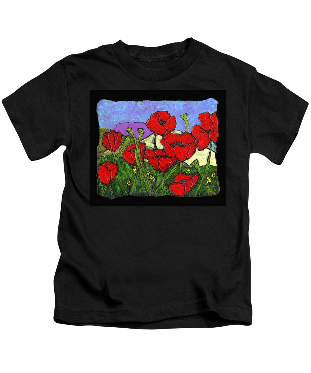 Poppies Kids T-Shirt featuring the painting June Poppies by Wayne Potrafka