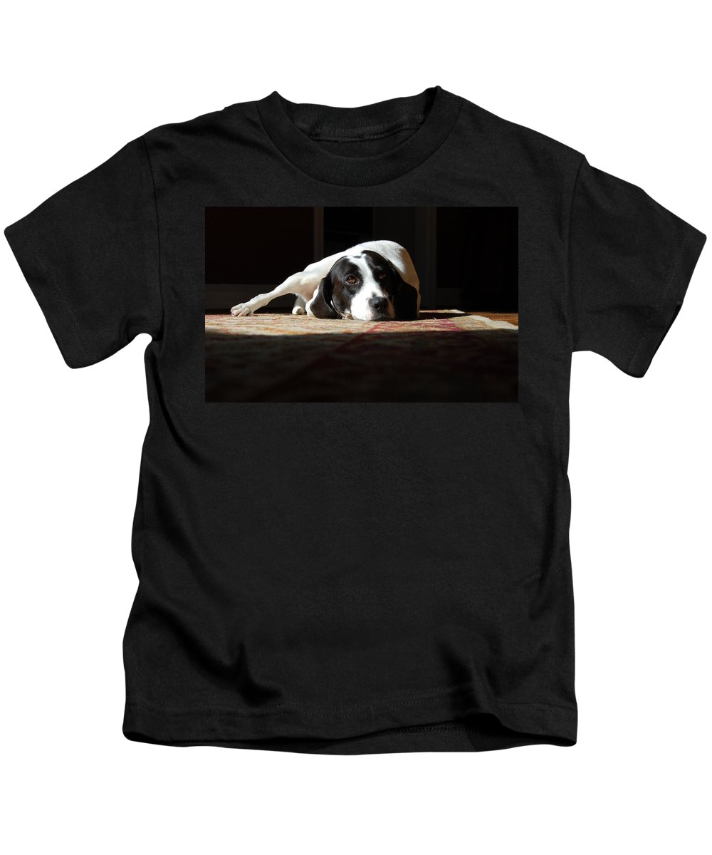 Dogs.animal Kids T-Shirt featuring the photograph Junebug by Robert Meanor
