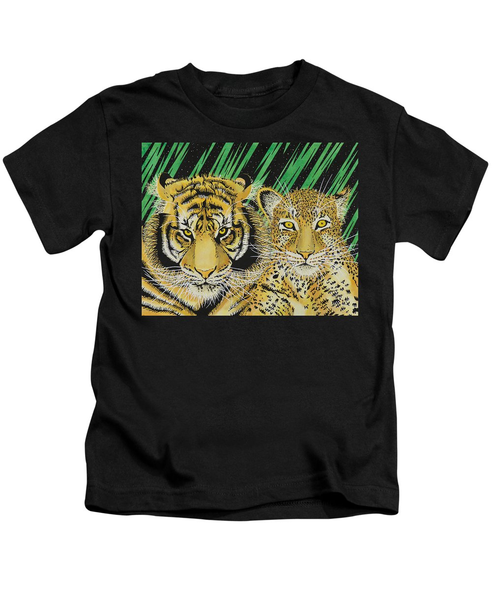 Tiger Kids T-Shirt featuring the painting Jungle Cats by Alan Morrison