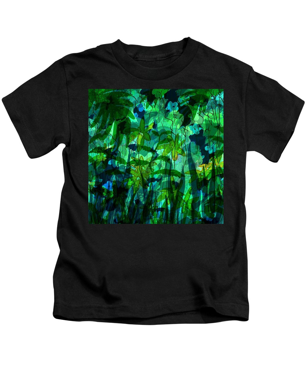 Abstract Kids T-Shirt featuring the digital art Jungle Colors by Rachel Christine Nowicki