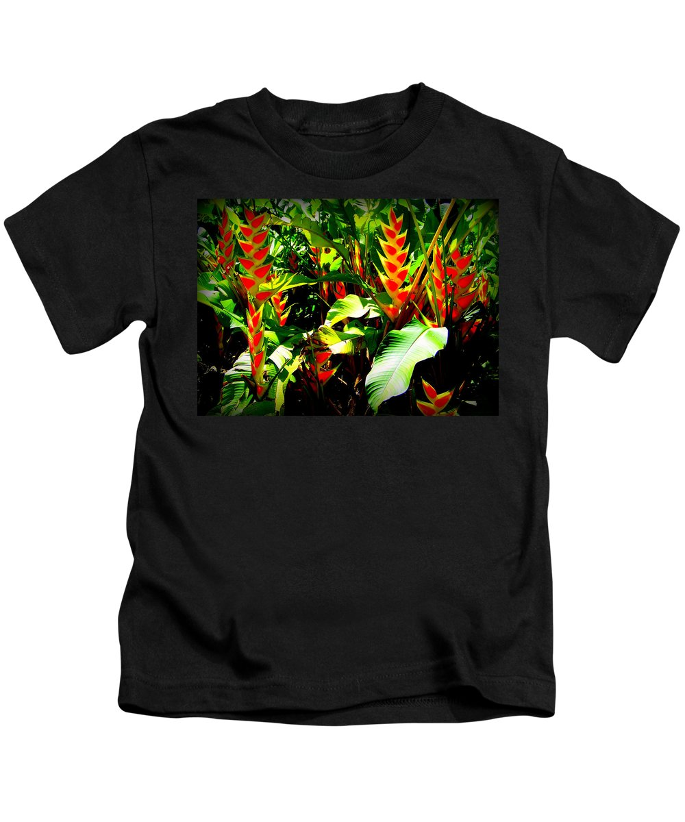 Tropical Flowers Kids T-Shirt featuring the photograph Jungle Fever by Karen Wiles