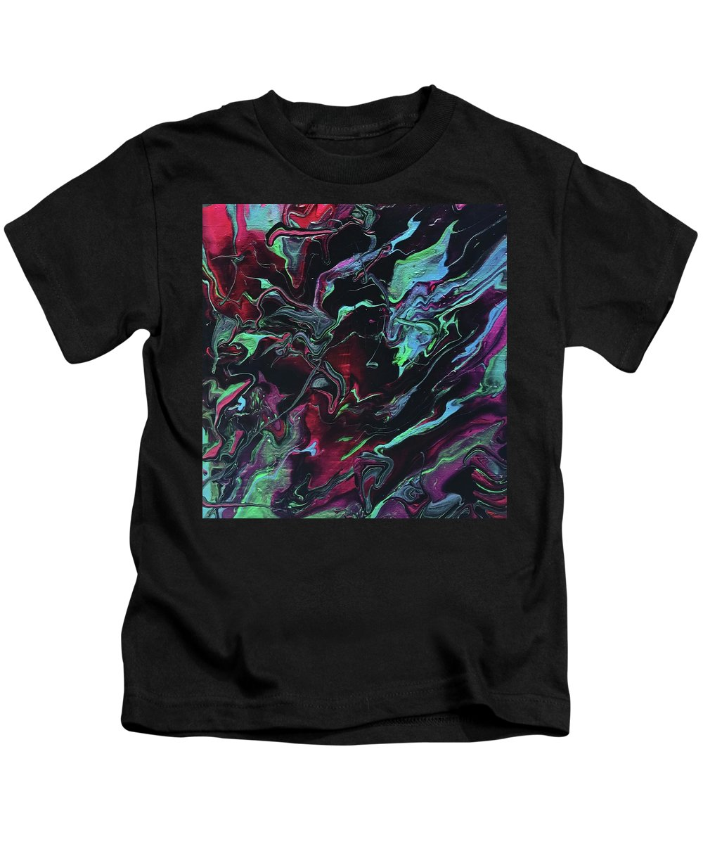 Abstract Acrylic Painting Kids T-Shirt featuring the painting Jupiter Journey by Cathie Moravcik