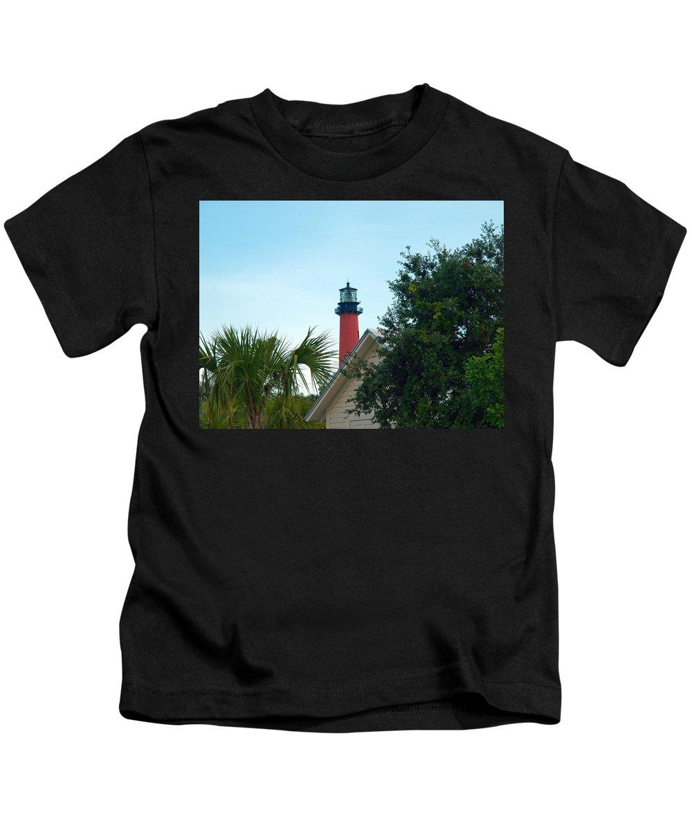 Florida; Juptier; Inlet; Loxahatchee; River; Atlantic; Coast; Shore; Beach; Light; Lighthouse; Beaco Kids T-Shirt featuring the photograph Jupiter Light by Allan Hughes
