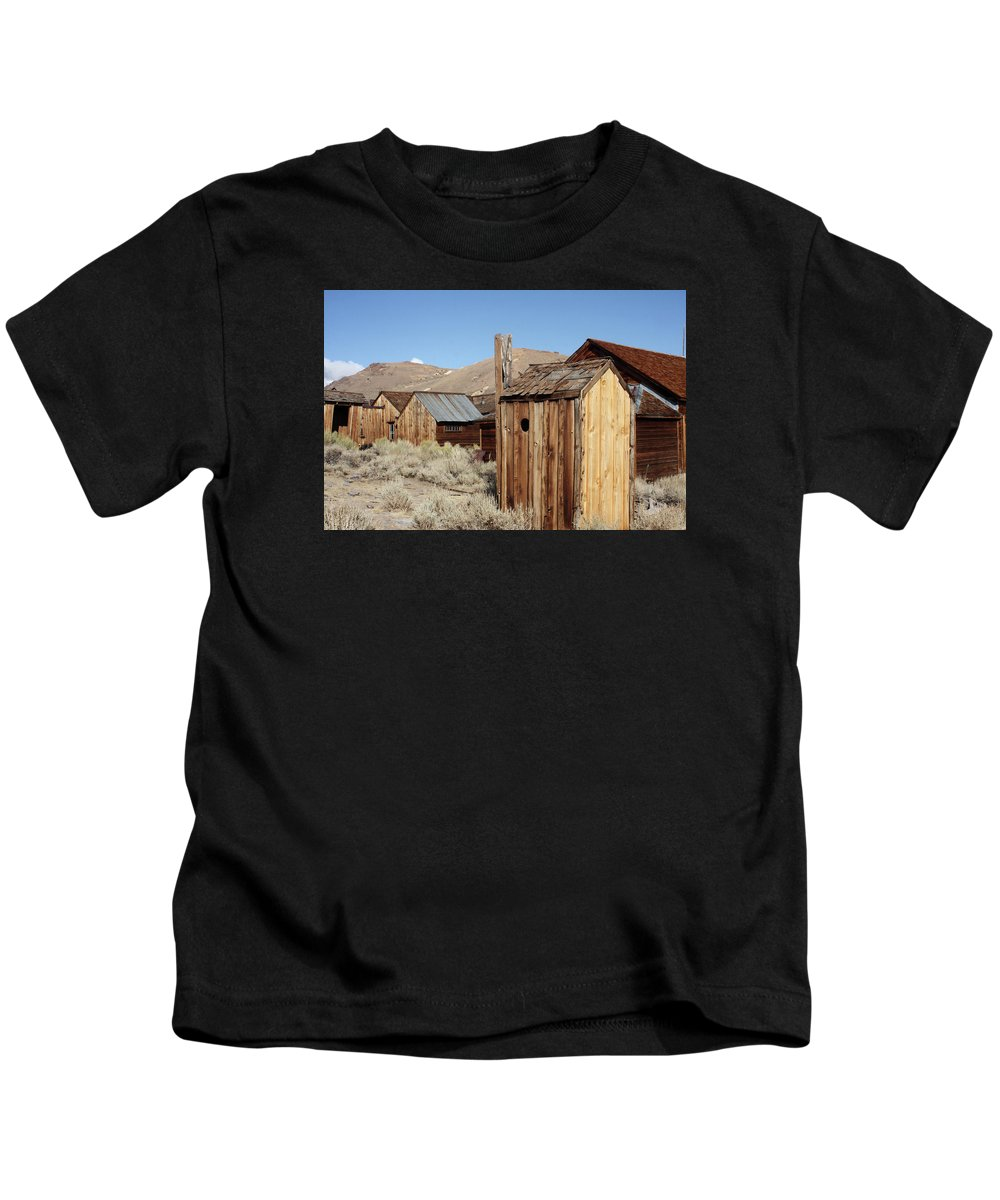 Bodie Ghost Town Kids T-Shirt featuring the photograph Just Out Back by Art Block Collections