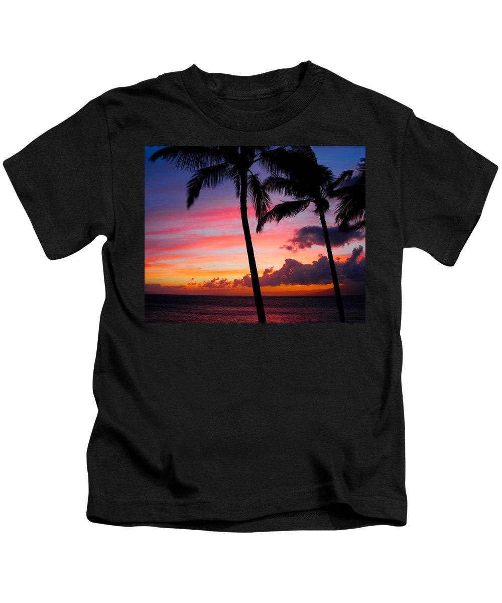 Kaanapali Sunset Kids T-Shirt featuring the photograph Kaanapali Sunset Kaanapali Maui Hawaii by Michael Bessler
