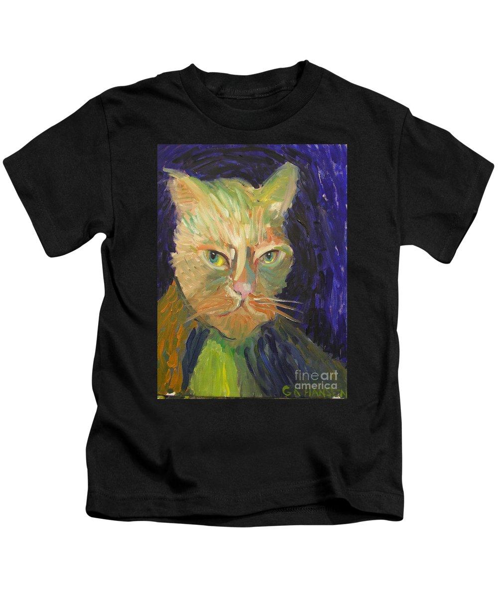 Van Gogh Kids T-Shirt featuring the painting Kat-van-go by Gail Eisenfeld aka G Kitty Hansen