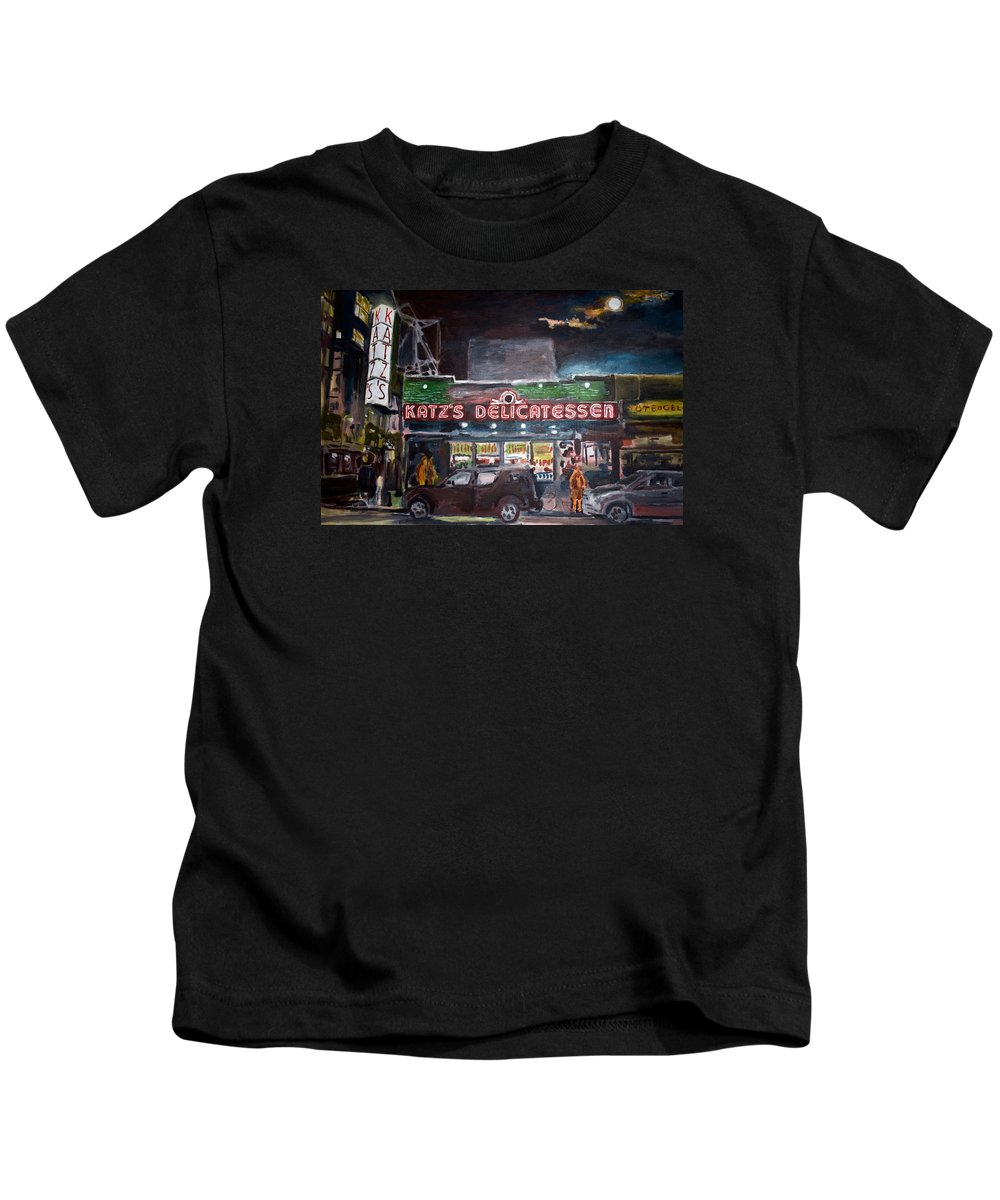 New York City Paintings Kids T-Shirt featuring the painting Katz Deli by Wayne Pearce