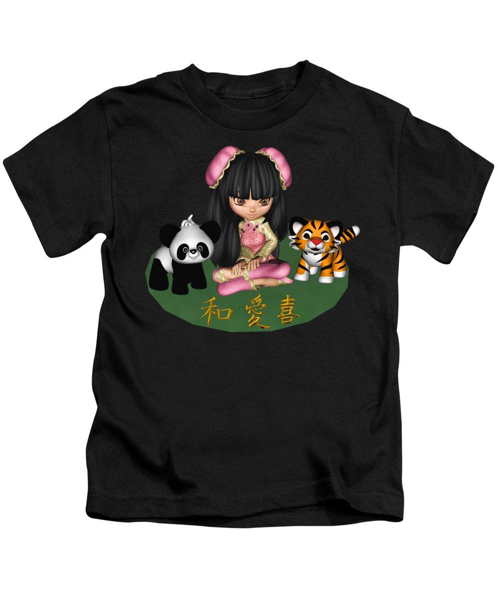 Kawaii-china-doll Kids T-Shirt featuring the digital art Kawaii China Doll Friends Panda And Tiger by Dkate Smith