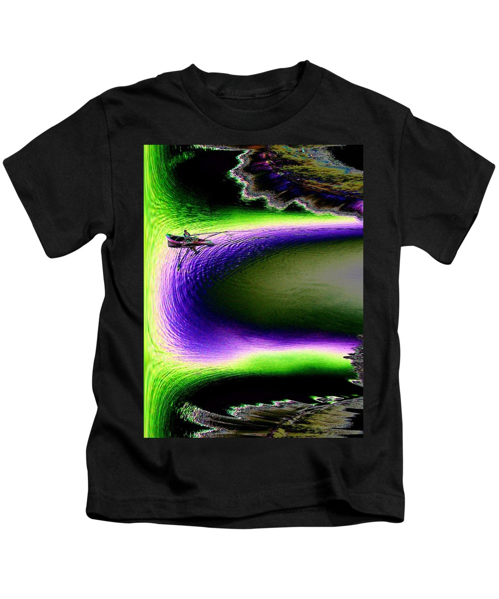 Seattle Kids T-Shirt featuring the digital art Kayak In The Cut by Tim Allen