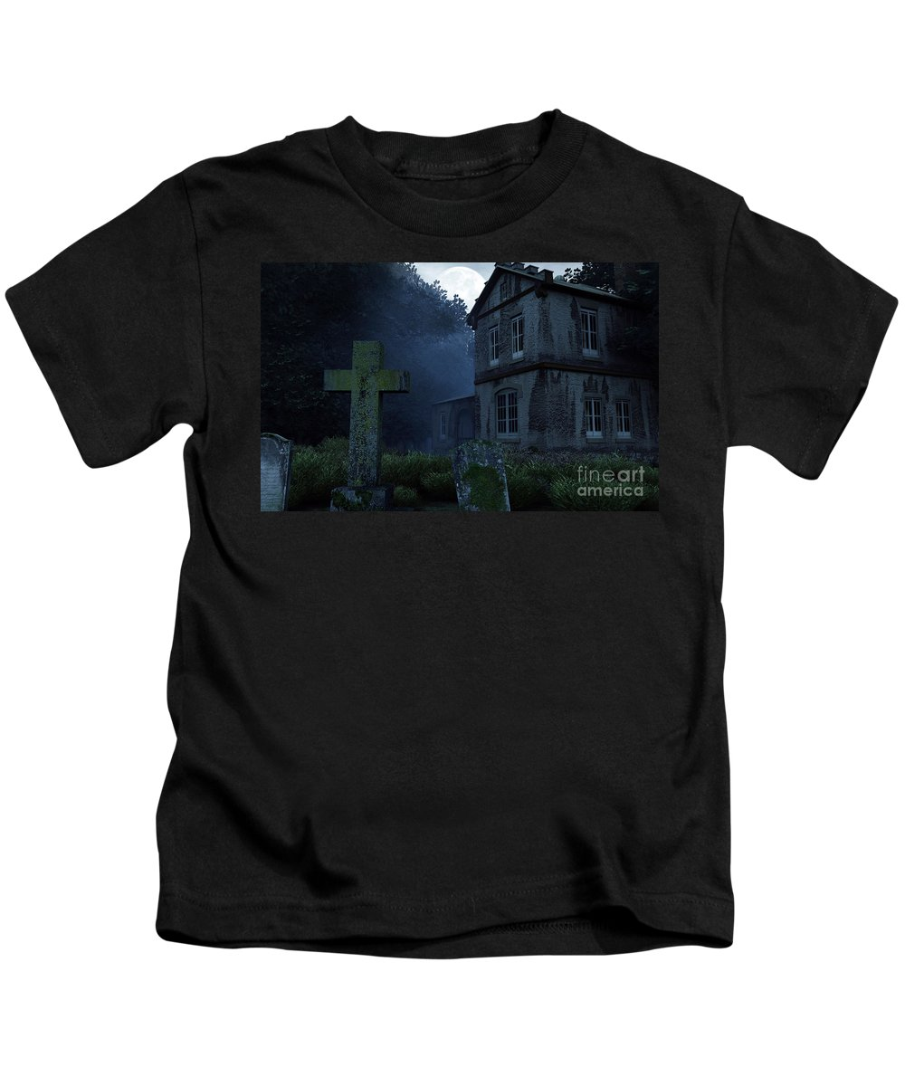 Dark Kids T-Shirt featuring the digital art Keepers Of The Manor by Richard Rizzo