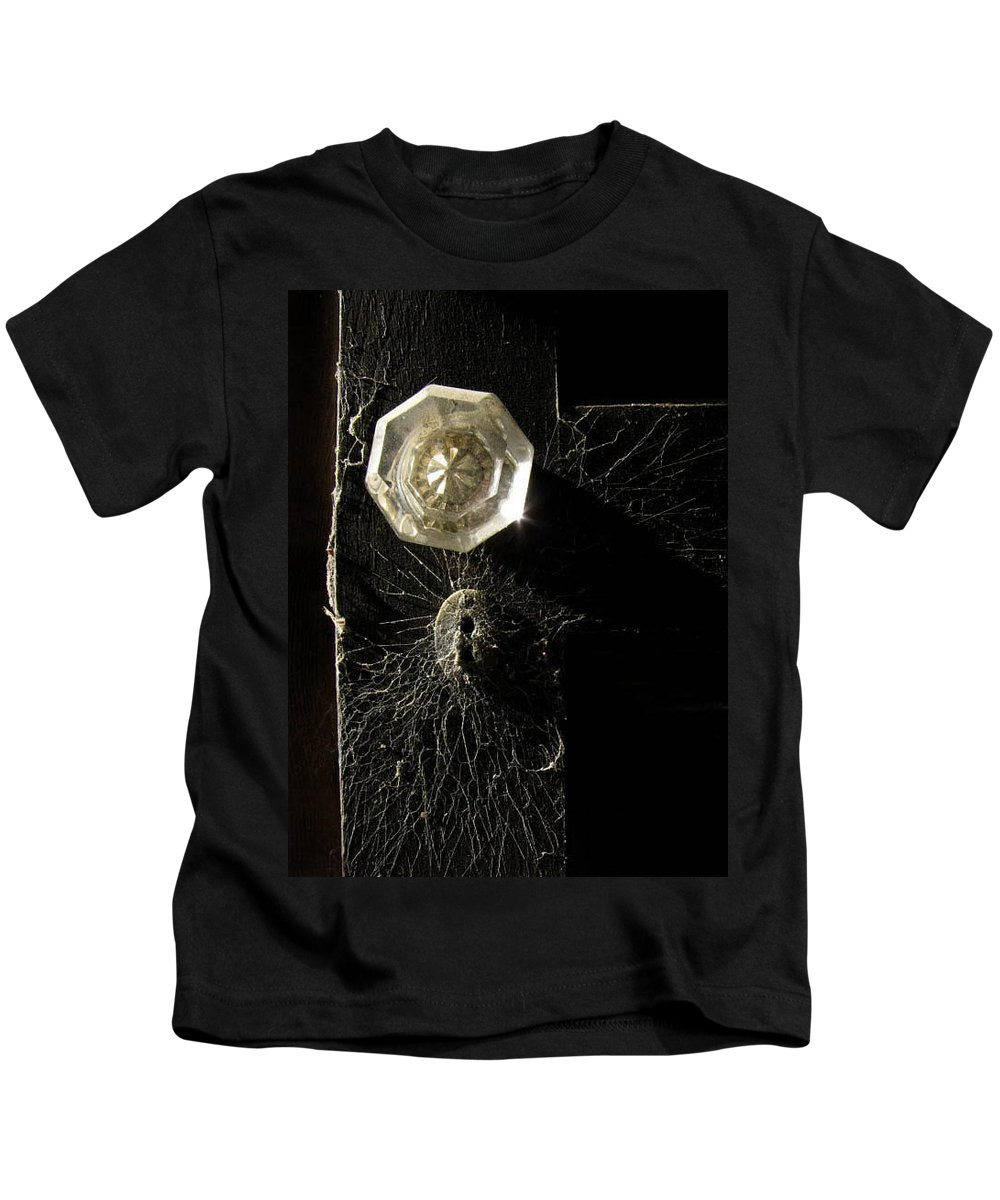 Door Kids T-Shirt featuring the photograph Keyholes And Cobwebs by Jessica Brawley