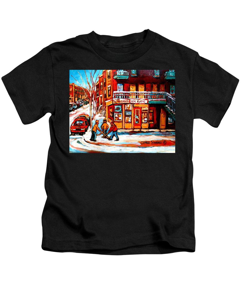 Montreal Streetscene Kids T-Shirt featuring the painting Kik Cola Depanneur by Carole Spandau