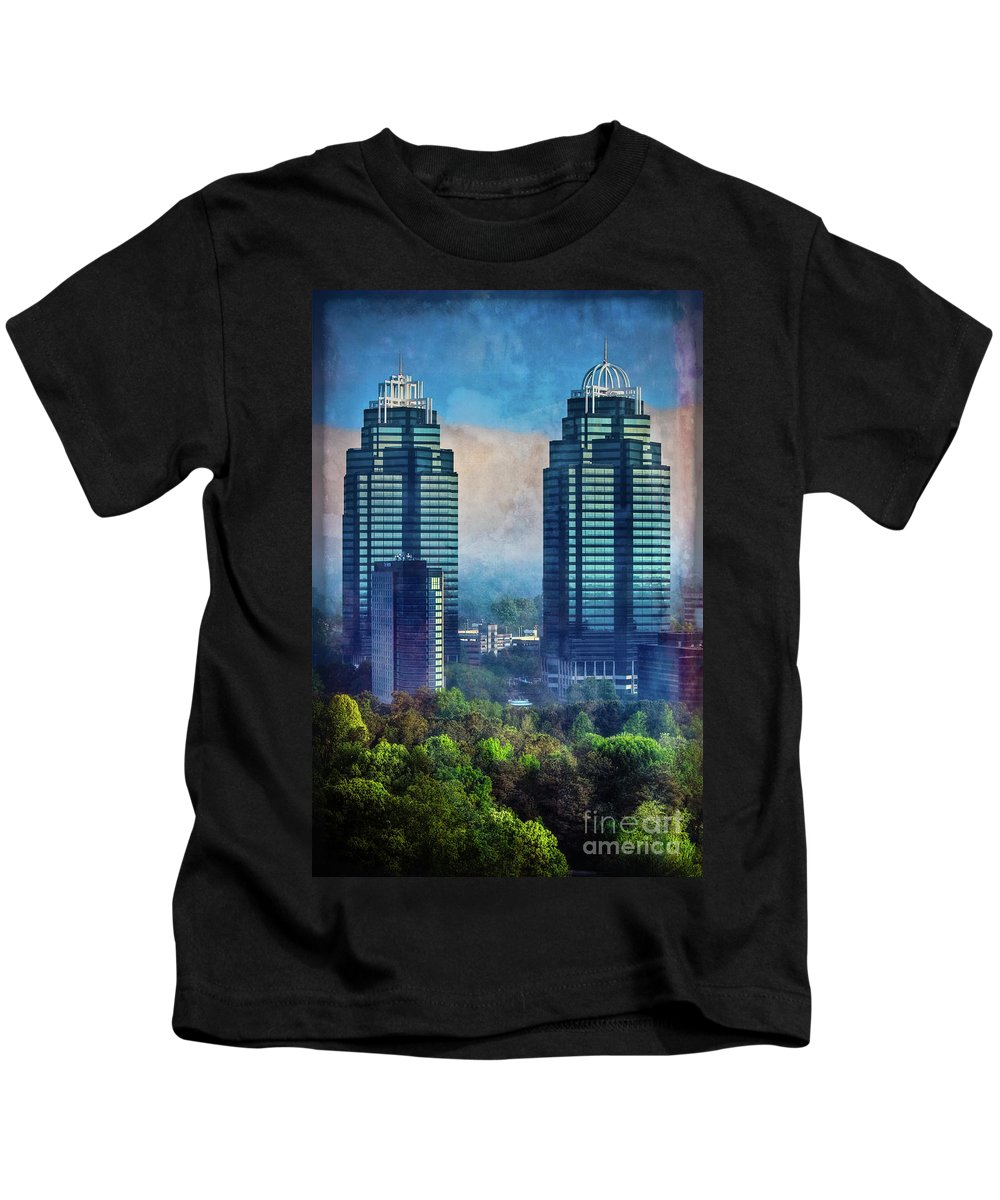 Atlanta Kids T-Shirt featuring the photograph King And Queen Buildings by Doug Sturgess