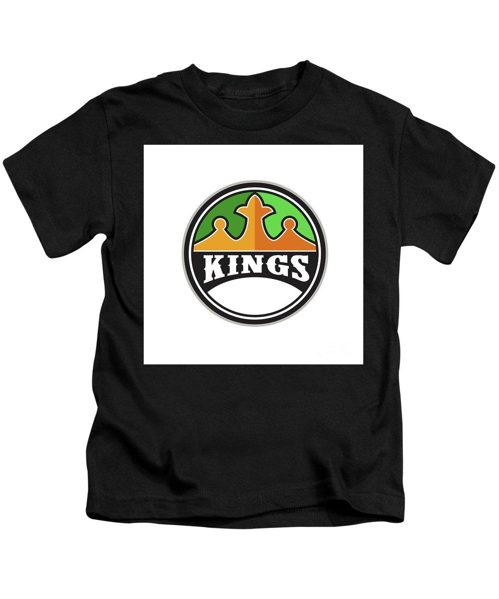 King Kids T-Shirt featuring the digital art King Crown Kings Circle Retro by Aloysius Patrimonio