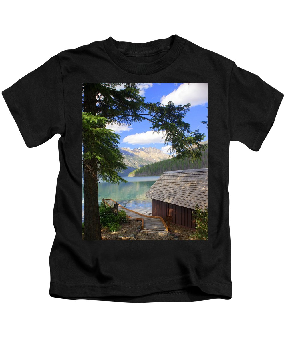 Glacier National Park Kids T-Shirt featuring the photograph Kintla Lake Ranger Station Glacier National Park by Marty Koch