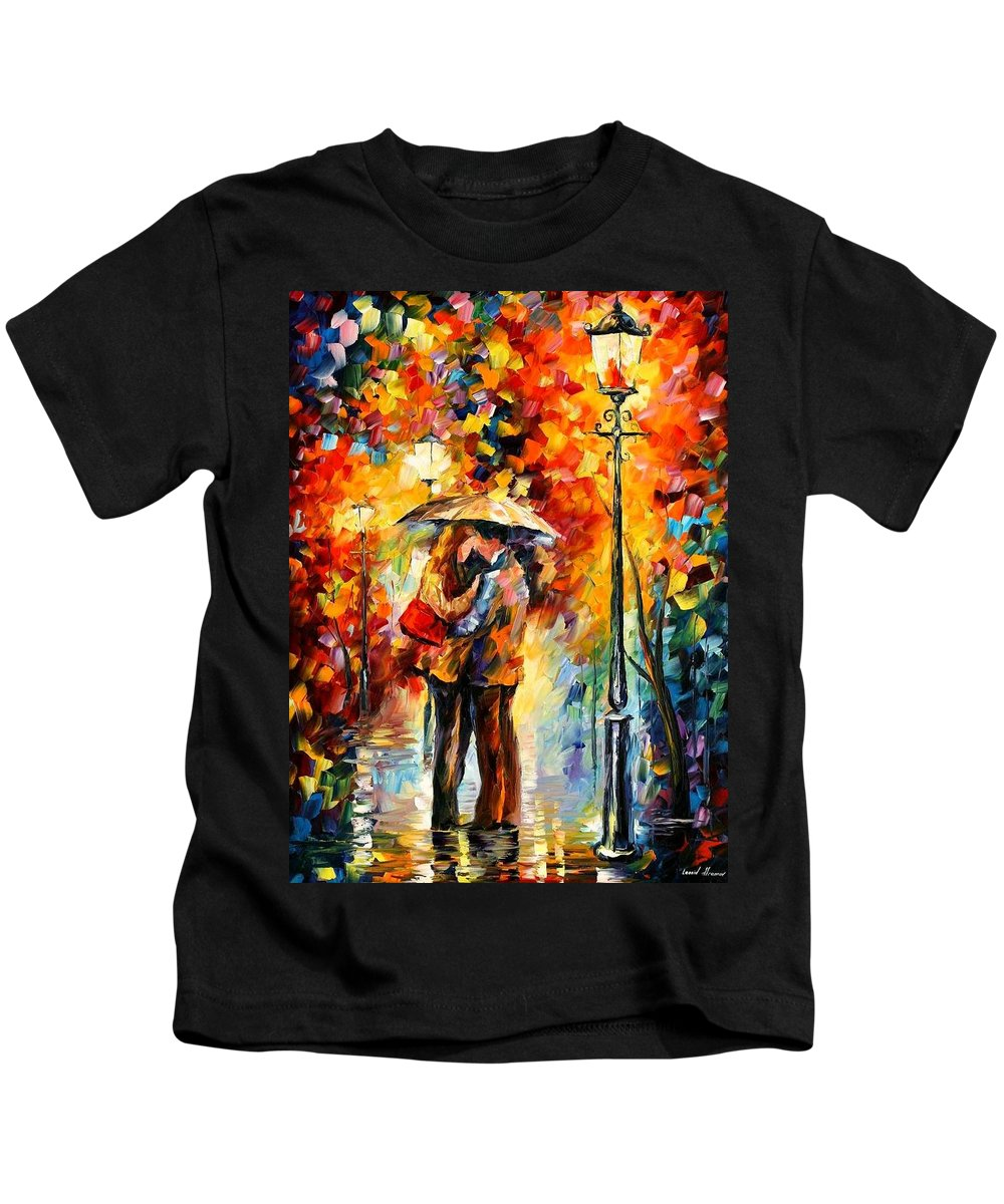 Afremov Kids T-Shirt featuring the painting Kiss Under The Rain by Leonid Afremov