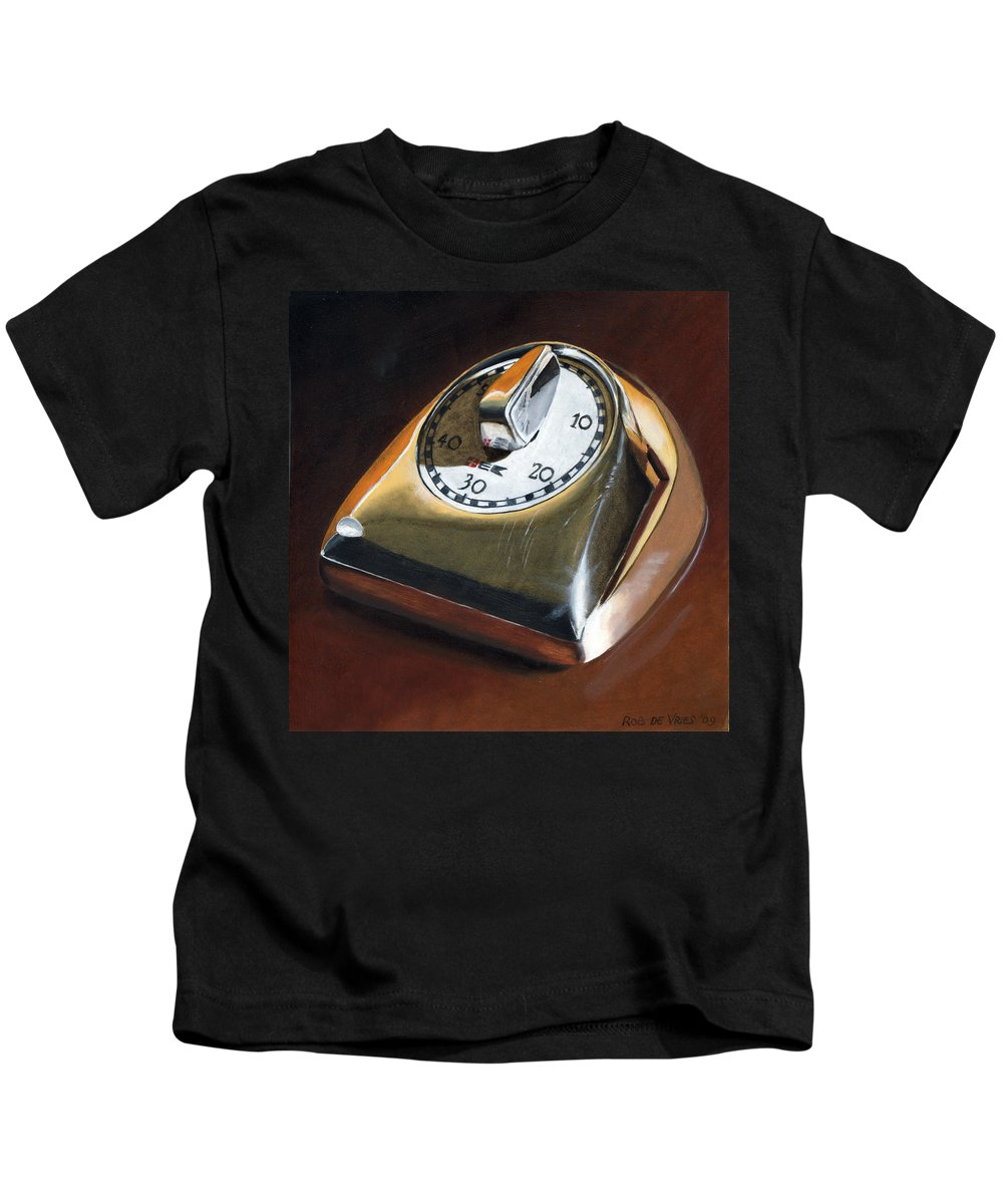 Kitchen Timer Kids T-Shirt featuring the painting Kitchen Timer by Rob De Vries