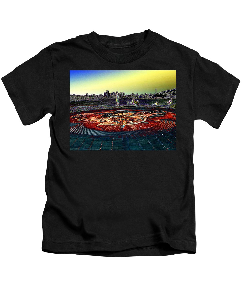 Seattle Kids T-Shirt featuring the photograph Kite Hill Sundial by Tim Allen