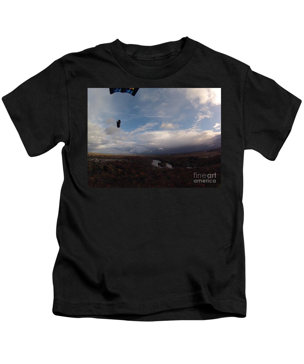 Kite Aerial Photography Kids T-Shirt featuring the photograph Kite Over The Kankakee by John Franke