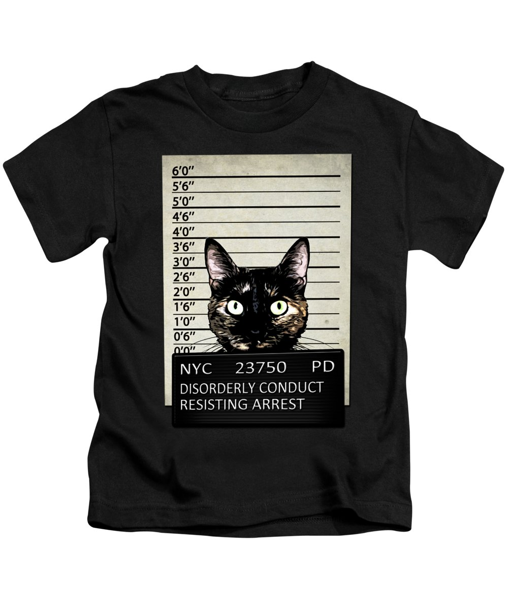 Cat Kids T-Shirt featuring the mixed media Kitty Mugshot by Nicklas Gustafsson