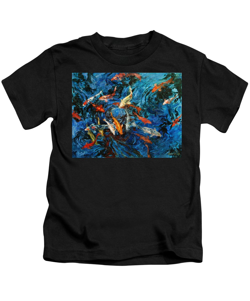 Koi Kids T-Shirt featuring the painting Koi IIi by Rick Nederlof