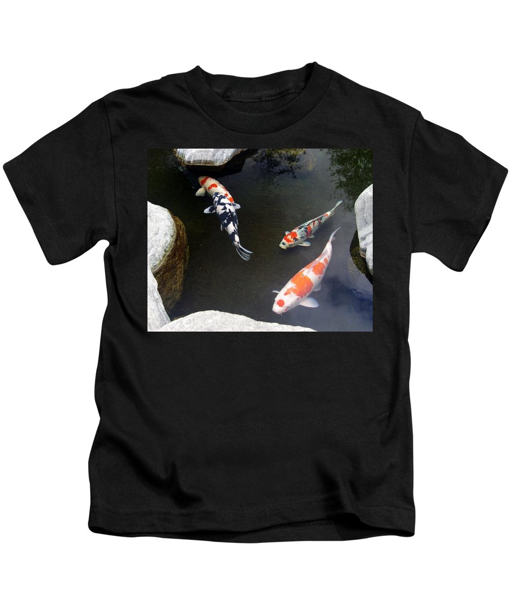 Koi Kids T-Shirt featuring the photograph Koi-jfg Cherry Blossom Festival 2013-2 by Phyllis Spoor