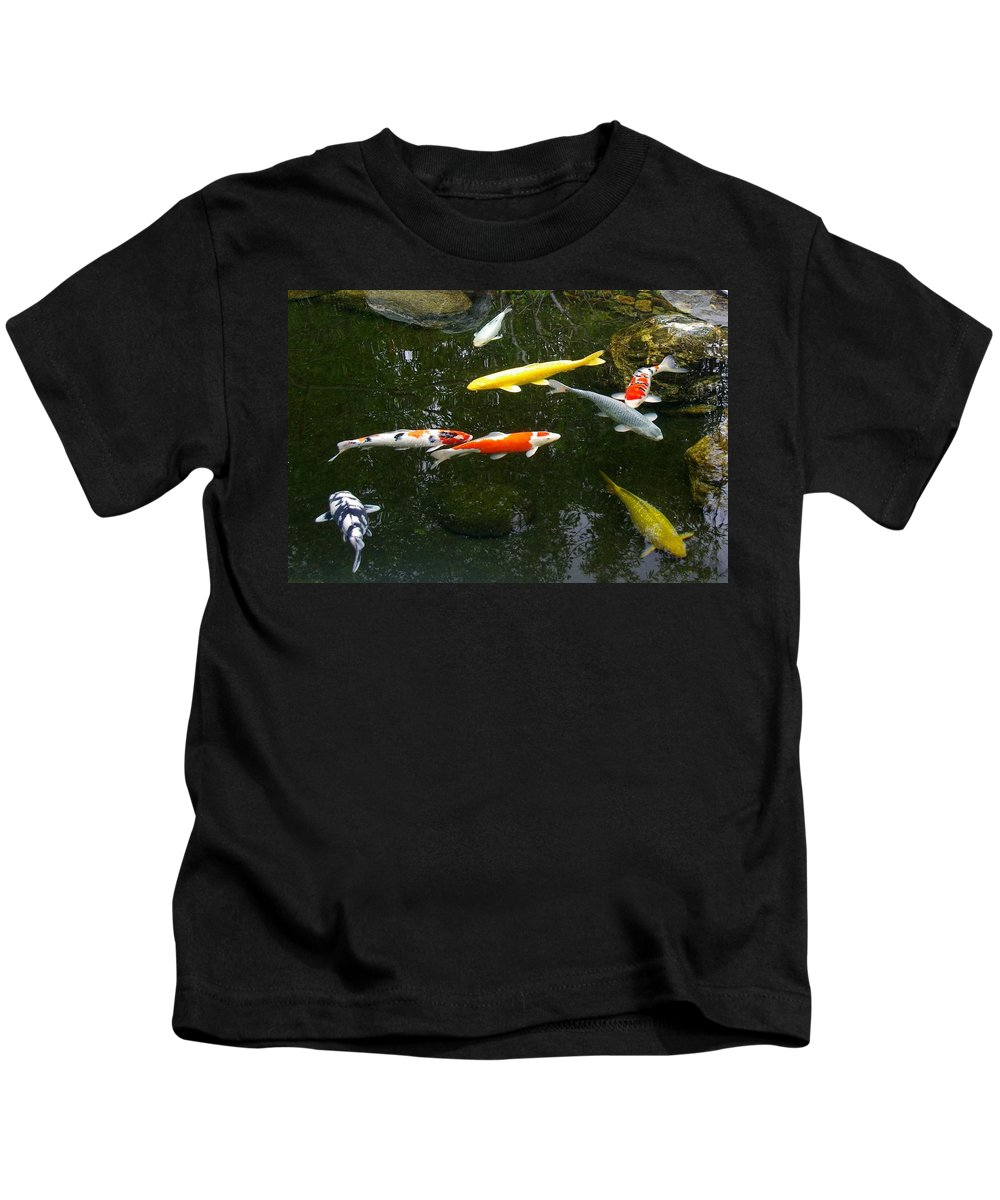 Koi Kids T-Shirt featuring the photograph Koi-jfg Cherry Blossom Festival 2013-3 by Phyllis Spoor