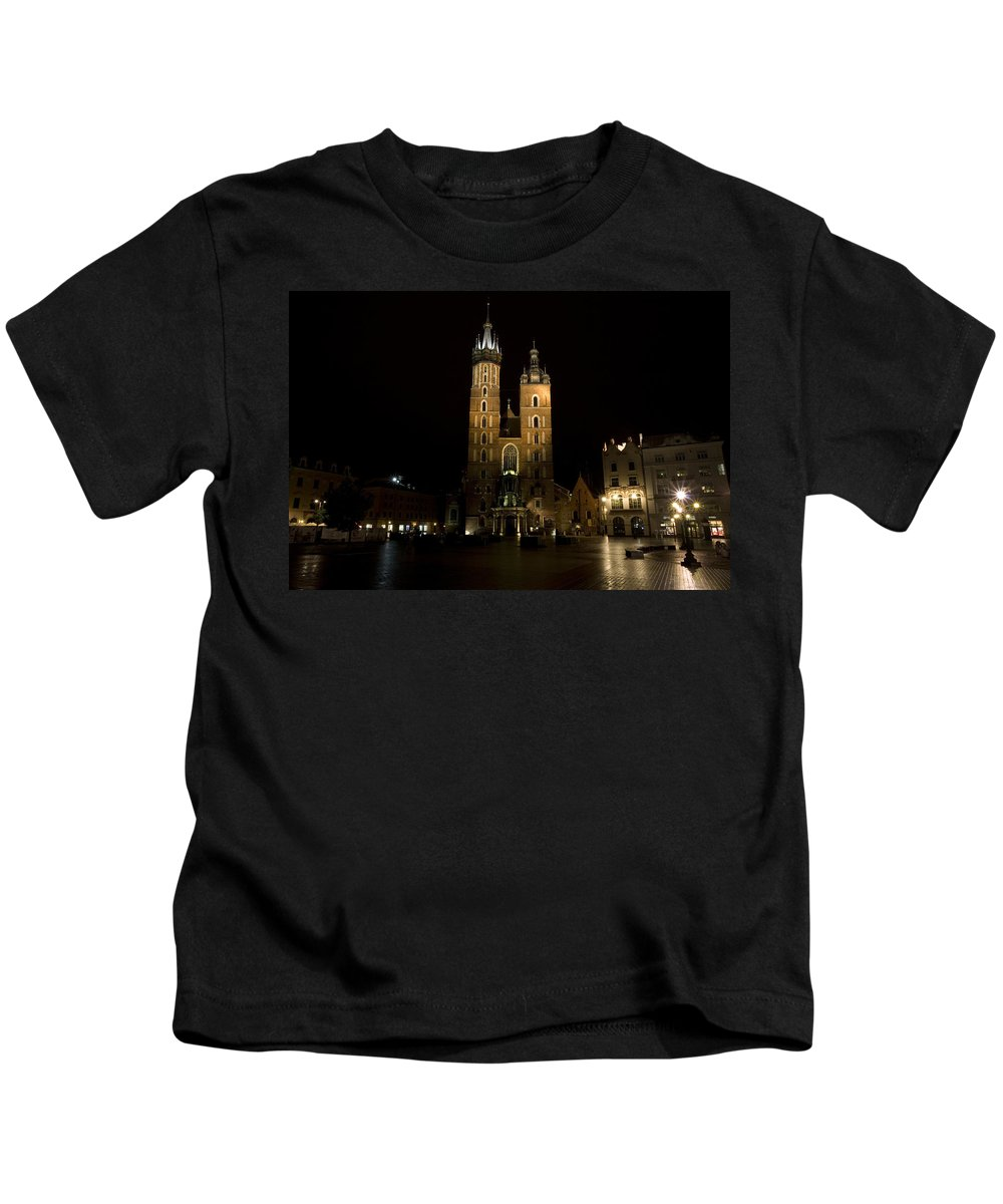 Krakow Kids T-Shirt featuring the photograph Krakow Saint Marys Basilica by Julian Wicksteed