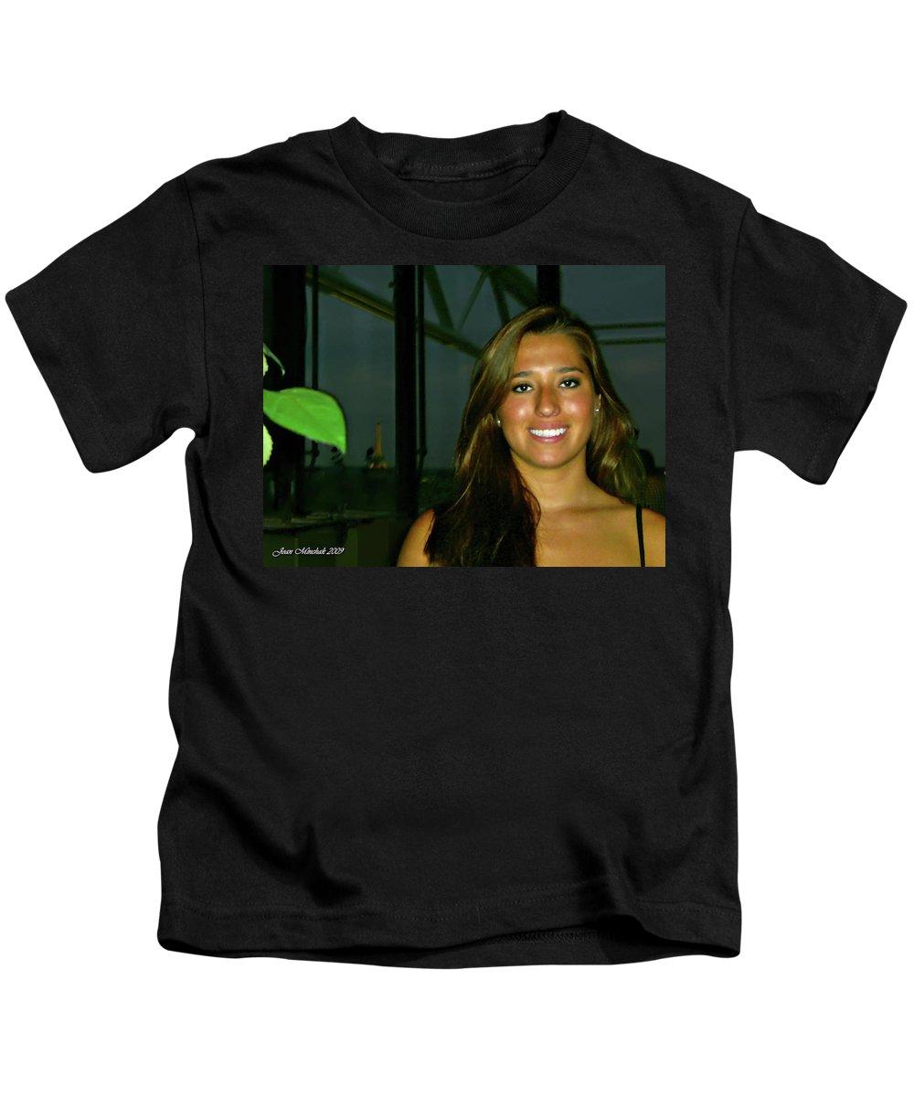Krystal Kids T-Shirt featuring the digital art Krystal In Paris by Joan Minchak