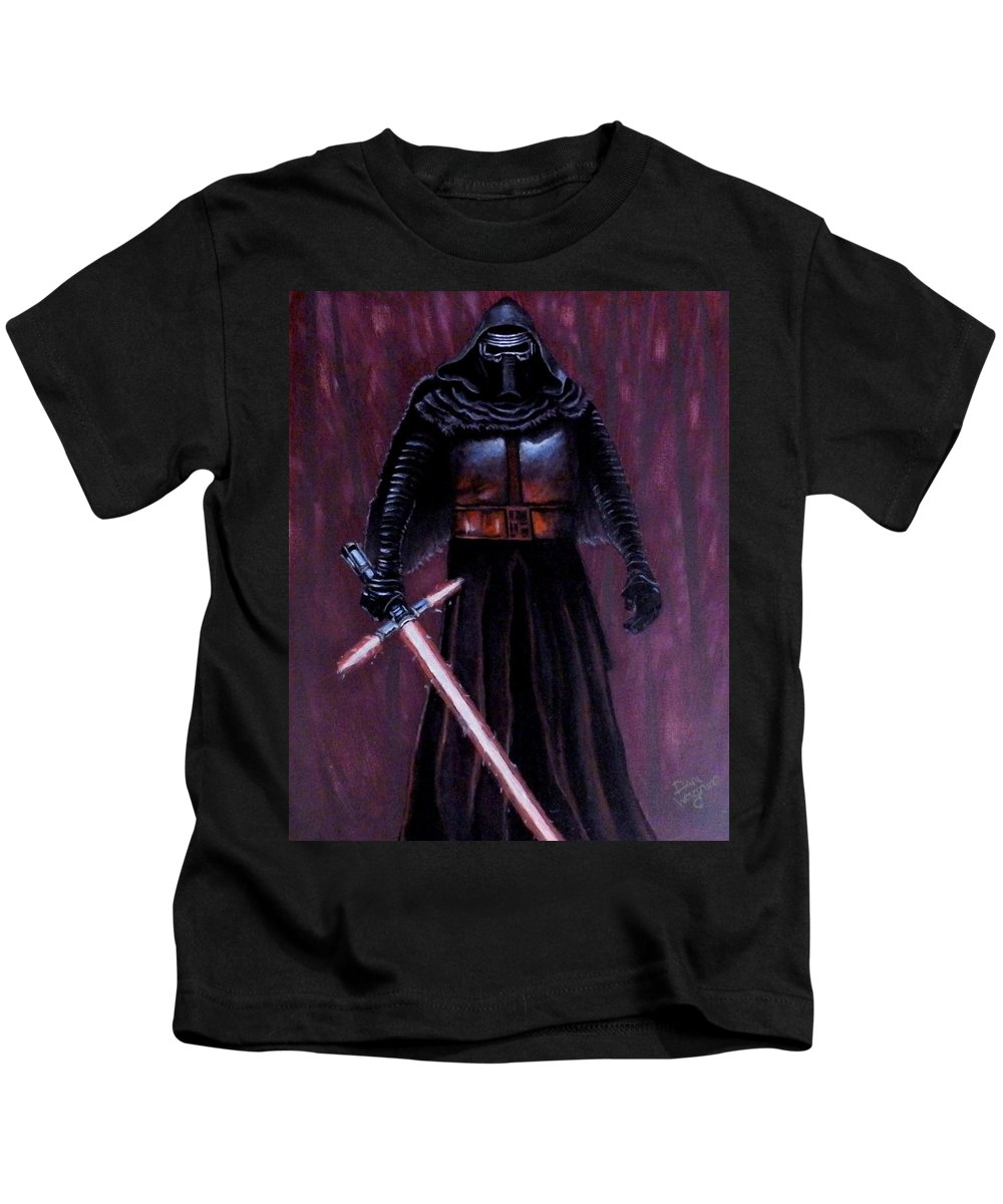 Acrylic Kids T-Shirt featuring the painting Kylo In Red by Dan Wagner