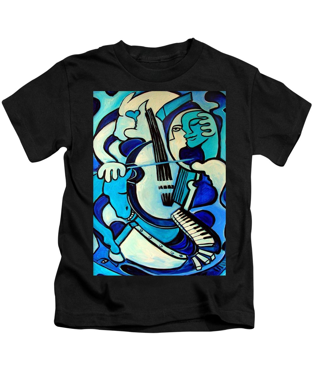 Abstract Kids T-Shirt featuring the painting L Amour Ou Quoi by Valerie Vescovi