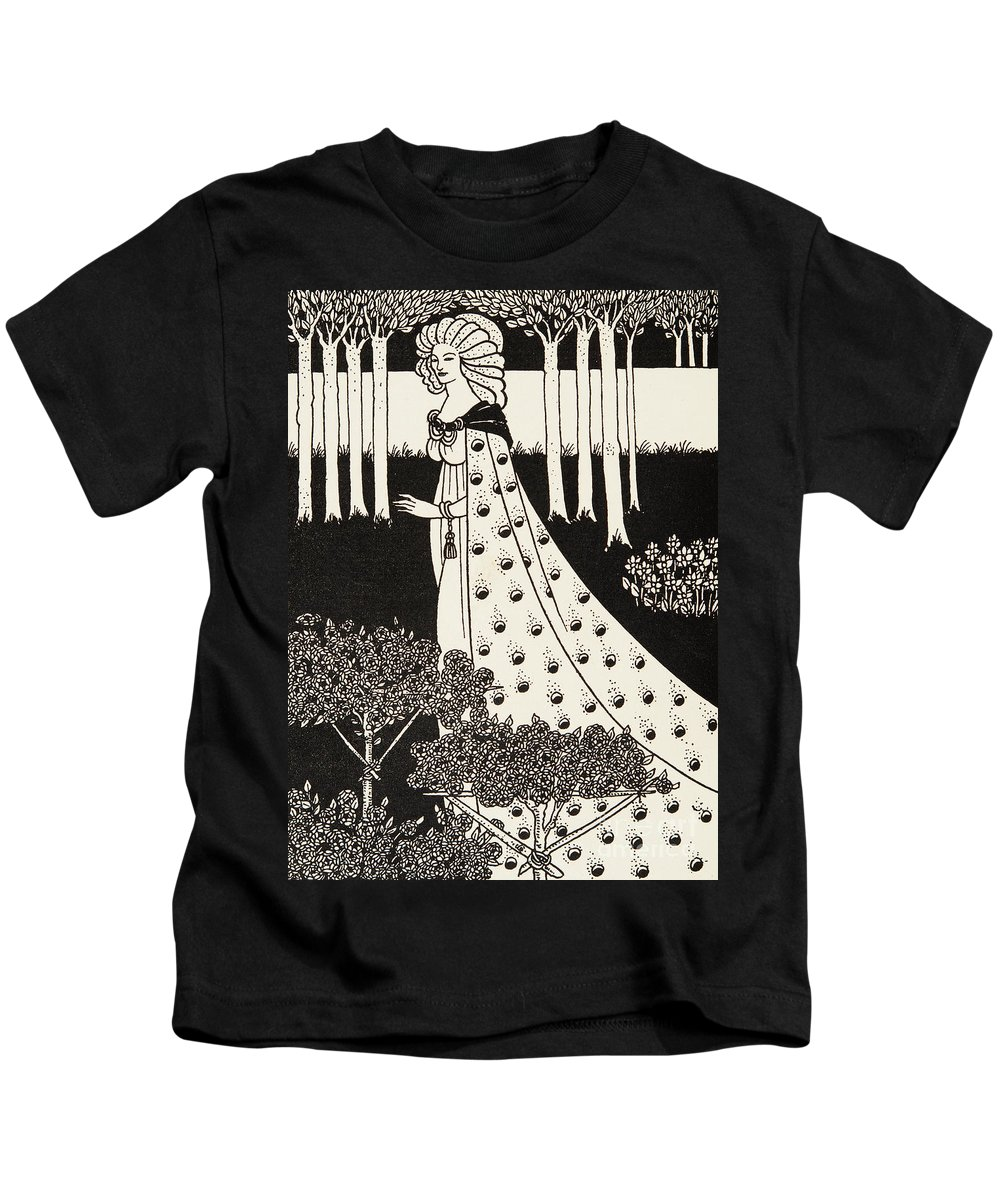 Nouveau Kids T-Shirt featuring the drawing La Beale Isolde by Aubrey Beardsley