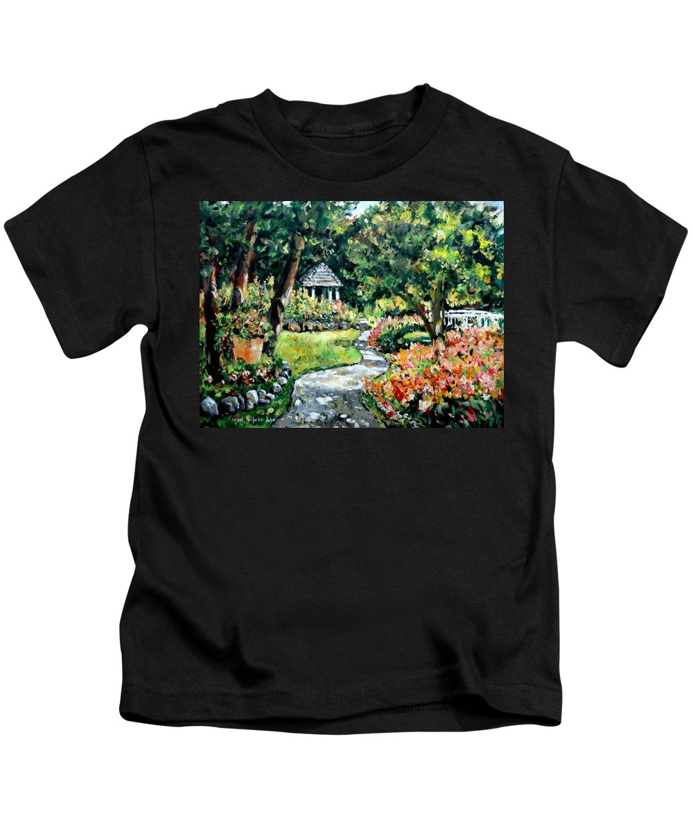 Landscape Kids T-Shirt featuring the painting La Paloma Gardens by Ingrid Dohm