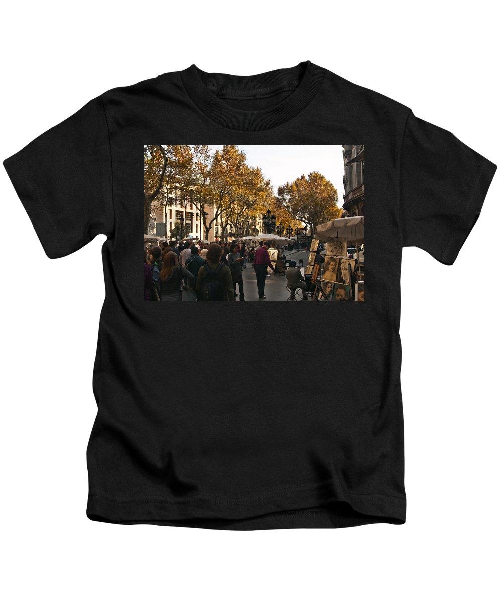 La Rambla Kids T-Shirt featuring the photograph La Rambla IIi by Steven Sparks
