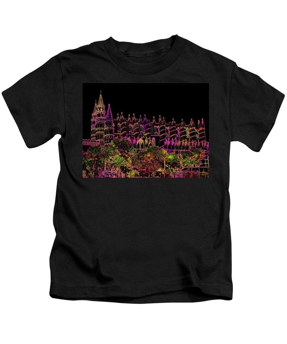 La Seu Kids T-Shirt featuring the digital art La Seu The Cathedral Of Palma by Helmut Rottler
